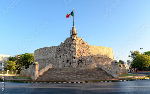 the Monument to the Fatherland in Merida, Yucatan, Mexico at sunrise