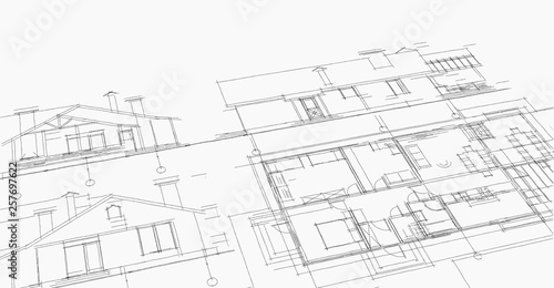 house, architectural project, sketch Fototapet