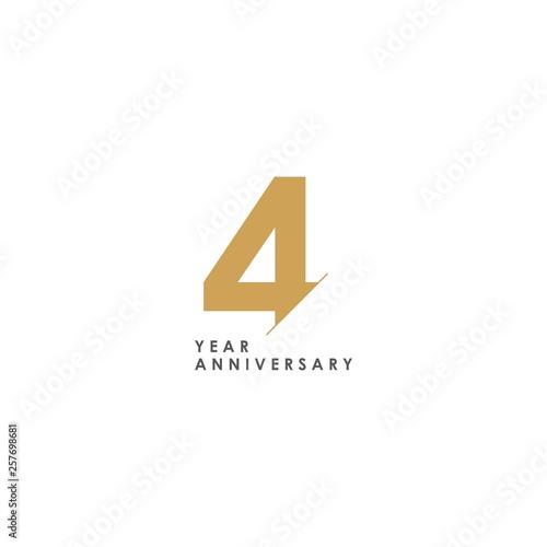Fotomural 4 Year Anniversary Vector Template Design Illustration