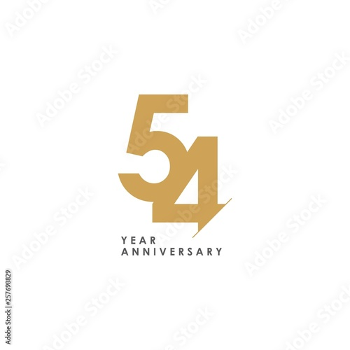 Photo 54 Year Anniversary Vector Template Design Illustration