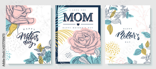 Obraz Set of greeting cards Happy Mother's day. Beautiful hand-drawn roses, plants and lettering. Vector illustration. - fototapety do salonu