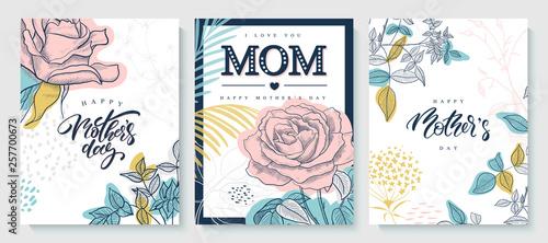 Obraz na plátně Set of greeting cards Happy Mother's day