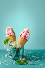 Melting Ice Cream Cone With Fr...