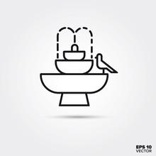 Fountain And Bird Bath Vector Line Icon