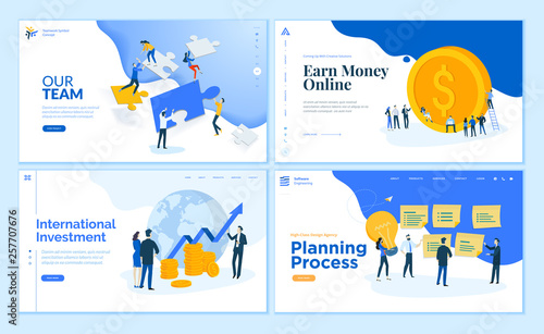Fotografía Web page design templates collection of teamwork, finance, online money earning, business management and planning