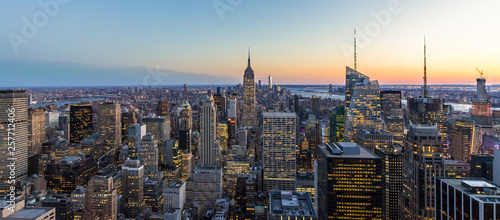 Canvas Print Panoramic photo of New York City Skyline in Manhattan downtown with Empire State