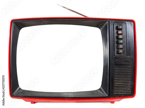 Fotografía  Vintage portable TV set with cutout screen isolated on white
