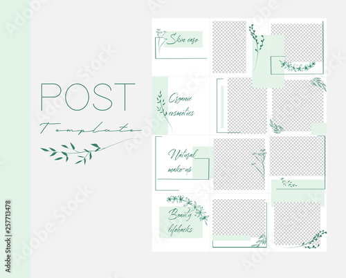 Design Backgrounds For Social Media Banner Set Of Instagram Post Frame Templates Vector Cover Mockup For Beauty Blog Or Cosmetic Shop Endless Square Green Puzzle Layout For Promotion Buy This Stock Vector And