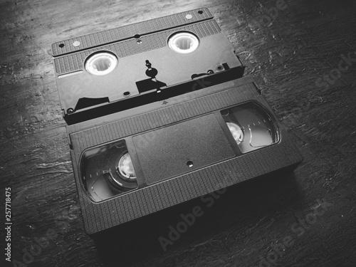 Valokuva  VHS video tape cassette - Black and white