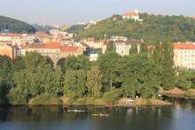 Panoramic View Of Prague And Vltava River, Czech Republic