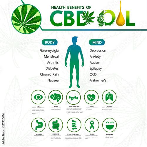 Cannabis benefits for health vector illustration. Canvas Print