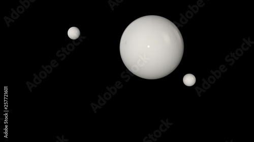 Photographie  3D illustration of a white large ball surrounded by two small white balls isolated on a black background