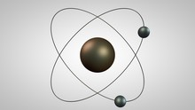 3D Illustration Of An Atom Model With A Nucleus And Two Electrons. Metal Model Of The Structure Of The Rutherford Atom. Idea, Symbol Of Atomic Energy. 3D Rendering On White Background Isolated.