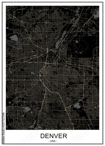 map of the city of Denver, Colorado, USA Canvas Print