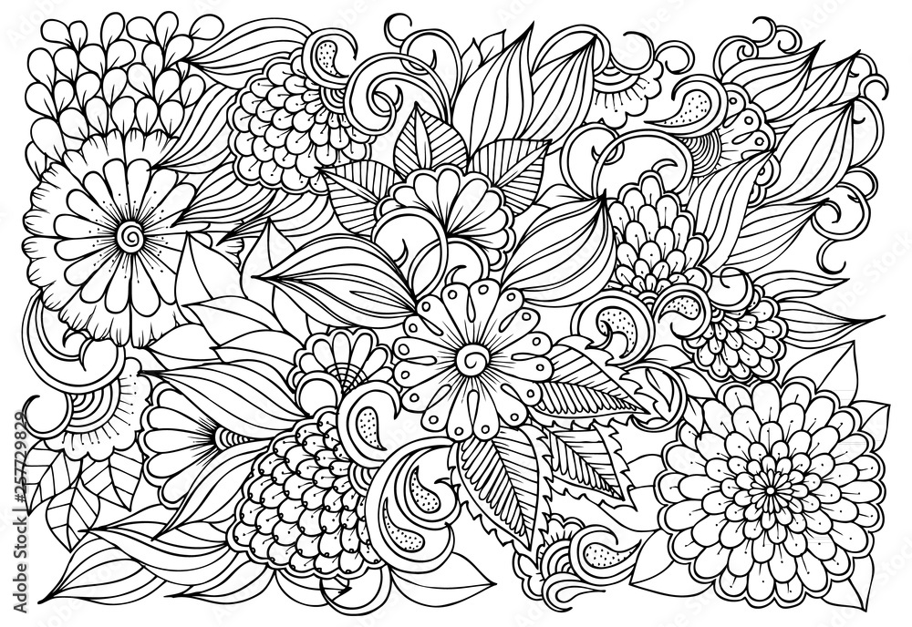 Fototapeta Vector black and white colorin page for colouring book. Leafs and flowers  in monocrome colors. Doodles pattern