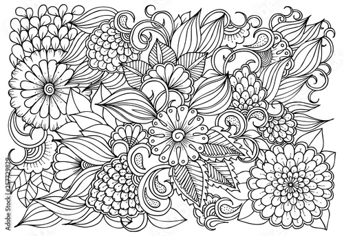 Vector black and white colorin page for colouring book. Leafs and flowers in monocrome colors. Doodles pattern