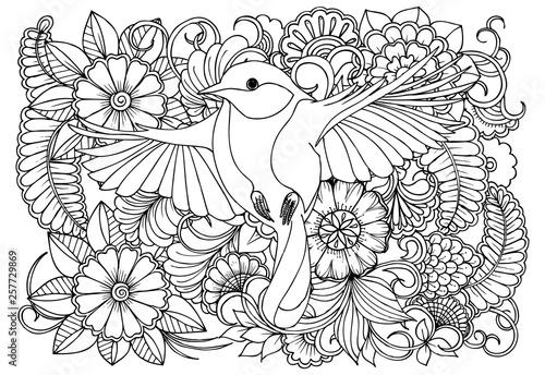 Ptak i kwiaty w kolorach monocrome.Vector czarno-biały kolor strony dla kolorowanka. Wzór Doodles