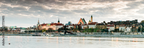 Warsaw panorama from Praga quartier in first day of spring.