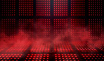 Empty scene background. Dark background of empty room, neon red light, concrete floor, smoke
