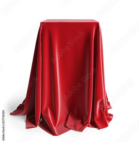 Photo Presentation pedestal with a red silk cloth