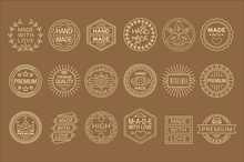 Vector Set Of Linear Labels For Handmade Goods. Made With Love. Graphic Elements For Business Card Or Packaging