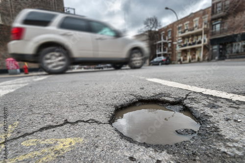 Large pothole in Montreal, Canada (2018)