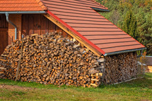 Pile Of Firewood Under The Window