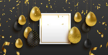 Easter Card Template With Gold...