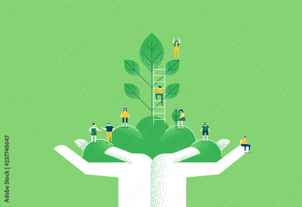 Fototapeta Hands with green plant and people for nature help