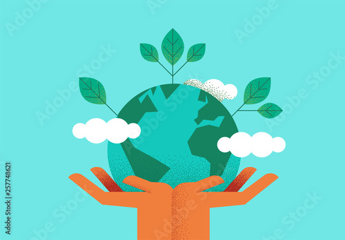 Hands holding planet earth for environment care Canvas