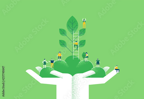 Carta da parati Hands with green plant and people for nature help