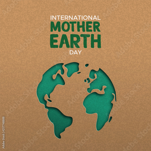 Leinwand Poster Earth Day illustration of paper cut world map
