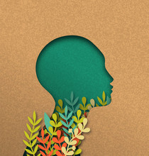 Papercut Woman Head With Colorful Paper Leaves