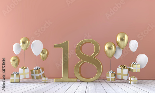 Papel de parede Number 18 birthday party composition with balloons and gift boxes
