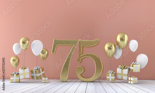 Number 75 Birthday Party Composition With Balloons And Gift Boxes 3D Rendering
