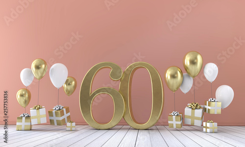 Photographie Number 60 birthday party composition with balloons and gift boxes