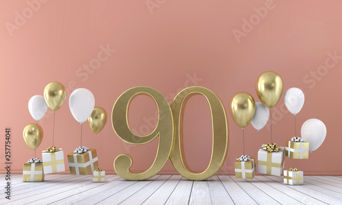 Valokuva  Number 90 birthday party composition with balloons and gift boxes
