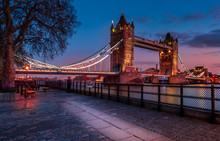 Tower Bridge In London At Sunset London UK March 26