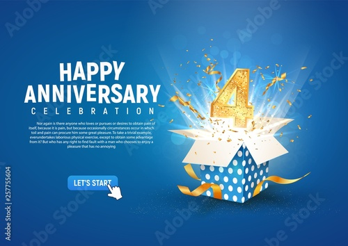 Fotografía 4 th year anniversary banner with open burst gift box