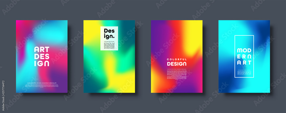 Fototapety, obrazy: Colorful modern abstract background with neon red, green, blue, purple, yellow and pink gradient. Dynamic color flow poster, banner. Vector illustration.