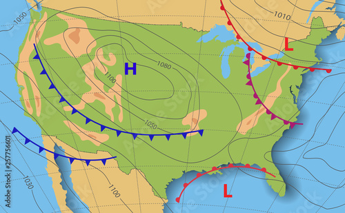 Weather forecast. Meteorological weather map of the United State of ...