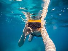 Selfie Of Young Woman Snorkeli...