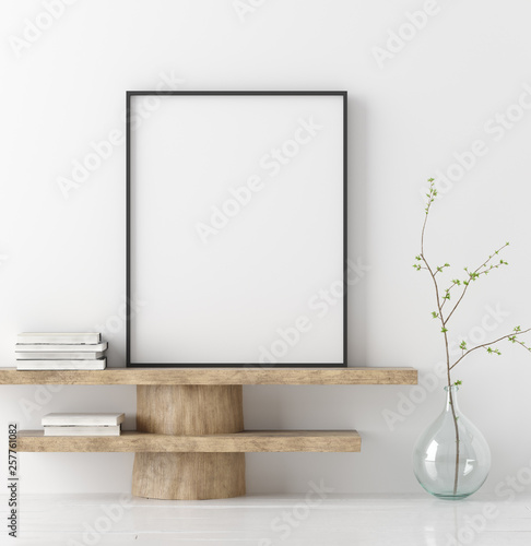 Mock up poster on wooden bench with branch in vase, 3D render Wall mural