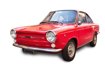 odizolowany stary samochód czerwony