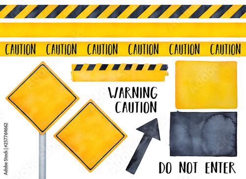 Carta da parati Collection of various warning signs, seamless caution tapes, text messages and attension symbols