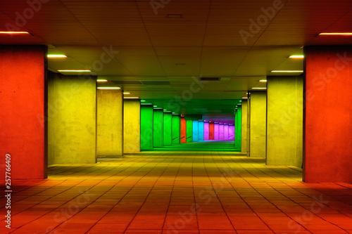Fototapeta Colorful mulitcolord illuminated gallery tunnel near Museum Park, Rotterdam, The Netherlands obraz na płótnie