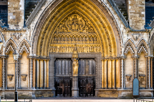 London, United Kingdom famous Westminster Abbey architecture closed large church Canvas Print