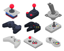Joystick Icons Set. Isometric ...