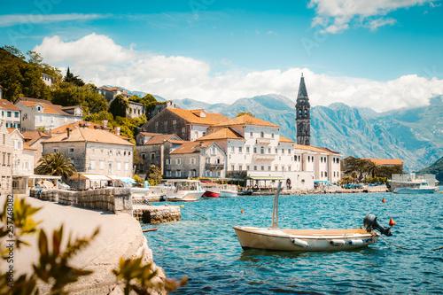 Poster de jardin Europe Méditérranéenne Historic town of Perast at Bay of Kotor in summer, Montenegro