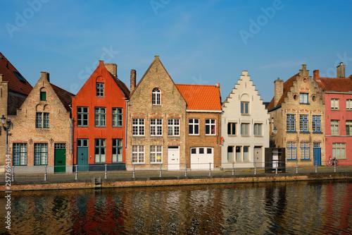 Poster Brugge Canal and old houses. Bruges (Brugge), Belgium